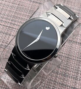 Swiss Movado Temo Classic, Black Dial,  Stainless Steel Men's Model # 0605903