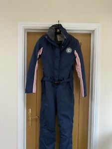 Ladies Jack Wills All In One Ski Suit Size 8 Blue And Pink