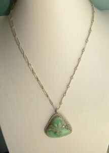 JEWELLERY SILVER BACKED PENDANT,CHRYSOPHASE? GEMSTONE 925 SILVER CHAIN  15