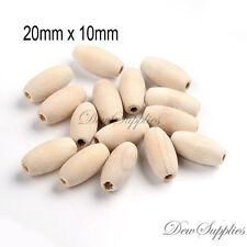50 Oval natural wood bead beads 20mm x 10mm jewellery findings crafts supplies