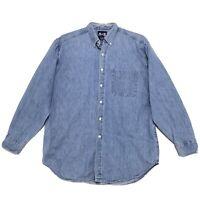 American Blue Heavy VINTAGE Denim Shirt Mens L Large Blue Long Sleeve Button Up