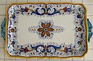 "Grazia Deruta Rectangular Platter With Handles 14 1/2"" x 10"""