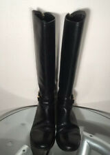 Tory Burch Black Leather Riding Boots Size 8M Made in Brazil