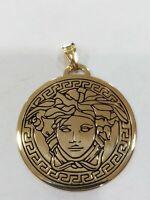 Anhänger Runde Mit Symbol Medusa, aus Silber 925 Golden, Neu