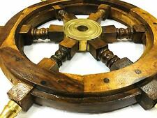 Antique Finish Ship Wheel Pirate Captain Wood & Brass Nautical Wheel