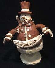 "Flurryville Collection Mayor Mike Motion Music Box 10"" High Snowman w/ Banner"
