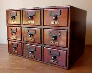 Antique Mahogany 9 Drawer Library Cabinet. Office Index Card Bureau 19th Century