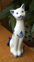 Vintage Porcelain White and Blue Cat Andrea by Sadek Hand Painted