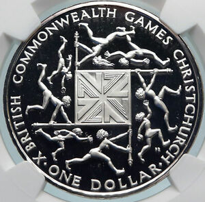 1974 NEW ZEALAND X Commonwealth Games Old Elizabeth II Silver $1 Coin NGC i85058