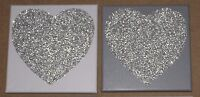 Set of 2 Light Grey / Dark Grey & Silver Glitter Heart Canvas Wall Art Picture