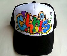 Chris or Any Name Gift Trucker Hats Caps Personalized Custom Graffiti Airbrush