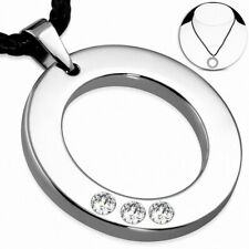 Charm Circle round Carbide Tungsten with Necklace of Cord Leather Braided