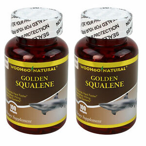 2 x WooHoo Natural Golden Squalene 1000 mg 100 SGels 100% Premium Purity Potency
