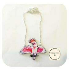 Pink Macaw Parrot Necklace 🐦Wooden ✨ Handmade ⭐ Unique