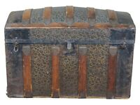 Antique Victorian Dome Top Chest Steamer Trunk Embossed Metal & Oak Panel 35""