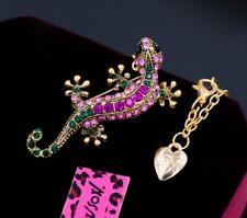 Betsey Johnson Rhinestone Crystal Lizard gecko Pendant Necklace Chain Brooch