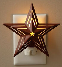 Country Primitive Metal Star Night Light Barn Red