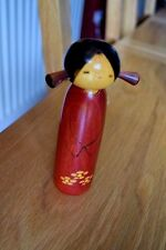 Seasons Sweet Young Girl Bunches Wooden Japanese Kokeshi Doll Pink Spring