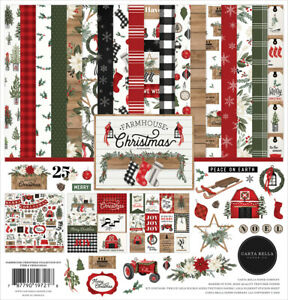 Carta Bella - Farmhouse Christmas 12x12 Collection Kit Papers + Stickers