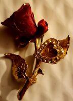 Vintage KC Red Rose Brooch Pin Gold Tone Rhinestone Heart