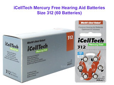 60 count of iCellTech 312 Mercury Free Hearing Aid Batteries Size 312Exp 2021