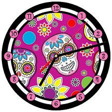 """8"""" WALL CLOCK Sugar Skull 8 Dia de los Muertos Day of the Dead Halloween Tattoo"""