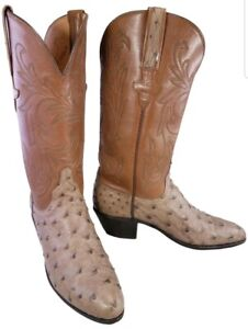 LUCCHESE WOMAN WESTERN COWBOY BROWN OSTRICH BOOTS SIZE 6 B EUC
