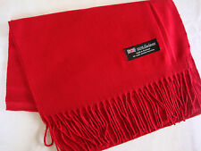 100% Cashmere Winter Scarf Scarve Scotland Warm Solid Red Wrap Shawl Neck NEW
