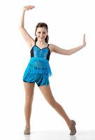 Child Large Jazz Fringe Tap Dance Costume Sequin Shimmy BLUE