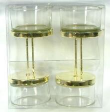 4 St. Adventskranz - Kerzenhalter f. Teelichter, goldfarben, Glas/Metall