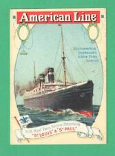 """RARE VINTAGE ADVERTISING SHIP CARD AMERICAN LINE """"ST. PAUL"""" MAIL SCREW STEAMER"""