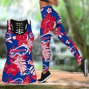 Buffalo Bills 2PCS Women Tank Top Legging High Waist Stretch Yoga Athletic Set