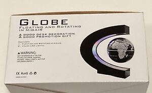 Floating Globe World Map with LED Lights C Shape Magnetic Levitation Floating