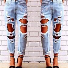 Mode Damen Zerstört Zerrissene Jeans Distressed Denim Hosen Boyfriend Lange Hose
