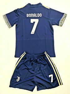 2021 Cristiano Ronaldo Kids Football Away Kit Soccer Set Shirt Jersey & shorts