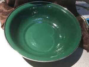 "Golden Rabbit Green Enamelware 13"" Large Serving Bowl Basin"