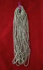 "12 Silver Mardi Gras Party Spirit Beads Necklaces 7mm 33"" ~ 1 dozen"