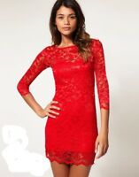 JOHN ZACK  BACKLESS LACE DRESS IN  RED
