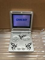 Game Boy Advance SP Tribal Limited Edition Silver Gaming Console Working