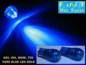 2x T10 W5W 194 501 Pure Blue Led Bulb, Bright Blue LED, Brand New!