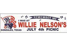 Willie Nelson     Picnic Concert   1976   Souvenir  Travel  Bumper Sticker
