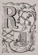 1871:RAVENNA,MINIATURA STEMMA ARALDICO Cento Citta,Ariodante Manfredi.Etna