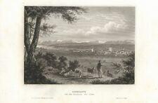 c1850 Konstanz Bodensee Alpen Stadtansicht Vedute Stahlstich-Ansicht