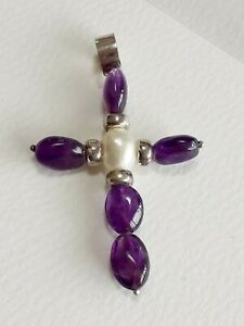 STERLING SILVER AMETHYST BEAD AND PEARL CRUCIFIX PENDANT 2 INCHES LONG