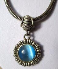 Chaîne pendentif collier bijou vintage couleur argent perle pierre bleue  4455