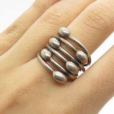 Vtg 925 Sterling Silver Unique Wide Handmade Modernist Ring Size 8