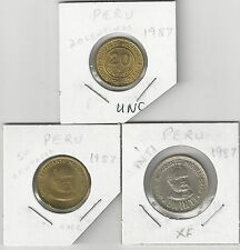 xx From Accumulation - 3 Coins.Peru.20 & 50 Centimos and 1 Inti.All 1987
