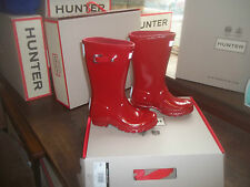 Brillo Hunter Wellies Wellingtons en Halifax Talla 7 Niños brillo rojo militar