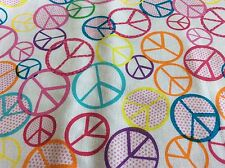 MINI PEACE SIGNS MULTI-COLOR ON WHITE #C1365 COTTON BY TIMELESS TREASURES- BTY