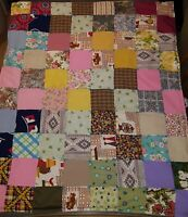 Vintage Handmade Patchwork Quilt Throw Blanket Tufted/Flannel Back/Double Stitch